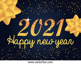 2021 happy new year golden dotted number gift bows decoration and glitter background