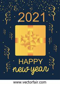 2021 happy new year golden gift with bow confetti ribbon celebration event