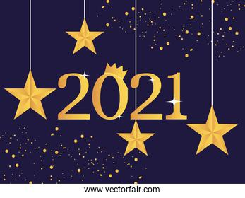 2021 happy new year golden number with crown hanging stars and bright background