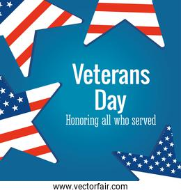 happy veterans day, US flag in stars celebration blue background