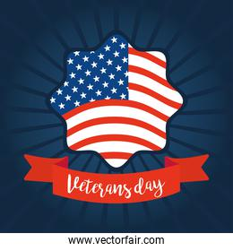 happy veterans day, american flag badge on sunburst blue background