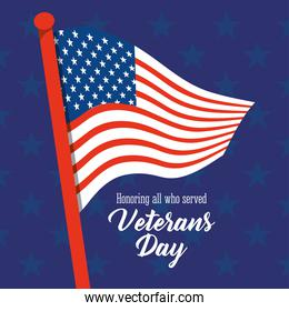 happy veterans day, american flag in pole stars blue background