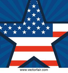 happy veterans day, american flag shaped star on blue rays background