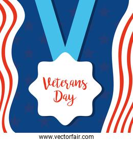 happy veterans day, medal with hand drawn text and american flag color background