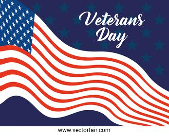 happy veterans day, waving flag patriotism card
