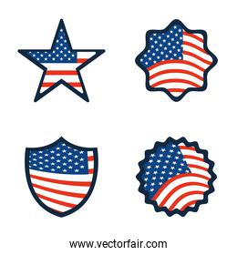 happy veterans day, american flag inside star badge label and sticker icons