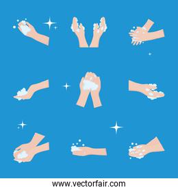 global handwashing day, collection icons hands washing bubbles