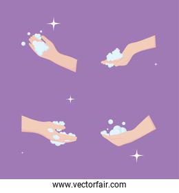 global handwashing day, hands with bubbles washing icons purple background
