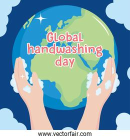global handwashing day, hands with foam holding planet