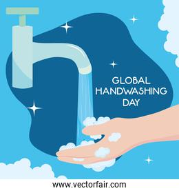 global handwashing day, faucet water and hand with bubbles
