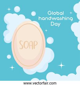 global handwashing day, soap skin care product and bubbles