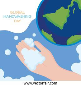 global handwashing day, hand with soap bubble and planet