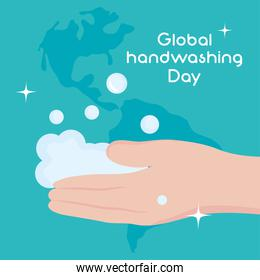global handwashing day, awareness card hand with foam and map background