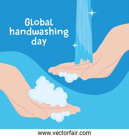 global handwashing day, hands with foam and water