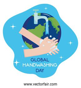 global handwashing day, washing hands faucet water and planet