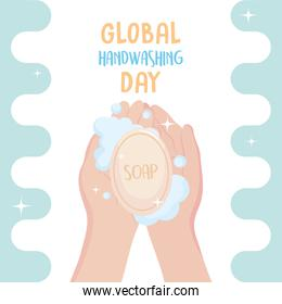 global handwashing day, hands with soap and bubbles card