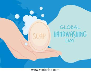 global handwashing day, person hand with sanitizing soap