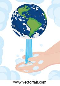 global handwashing day, planet with falling water on hands