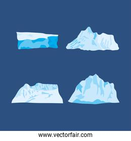 icon set of icebergs over blue background