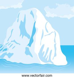 Vector illustration of cartoon nature winter arctic landscape with iceberg