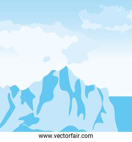 Vector illustration of cartoon nature arctic landscape with iceberg