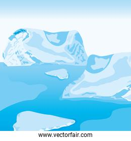 vector illustration of icebergs arctic landscape