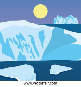 Vector illustration of cartoon nature winter arctic night landscape with icebergs