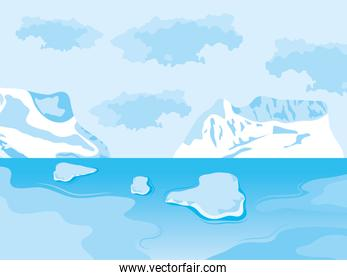 arctic landscape with icebergs and blocks floating, colorful design