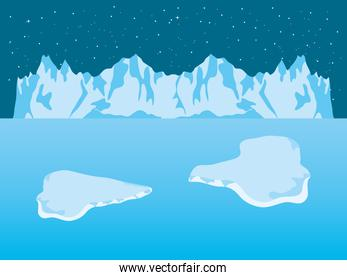 Night Arctic ice landscape with iceberg mountains and blocks