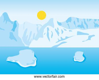 sunny arctic landscape with iceberg mountains and blocks floating on the ocean