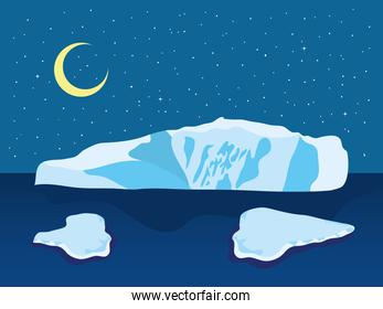 vector illustration of Cartoon Arctic night Ice Landscape with Icebergs Outdoor Scene with half moon
