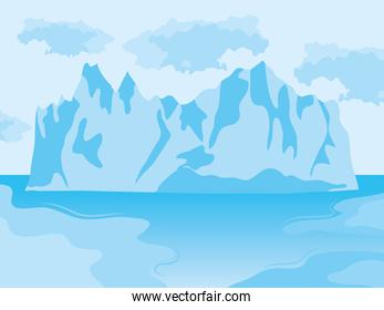 Iceberg floating in sea, colorful design