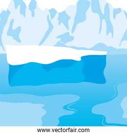 Cartoon nature winter arctic ice landscape with icebergs