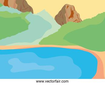 lake around of rockey and valley mountains landscape, colorful design