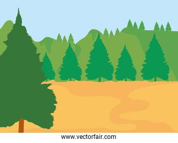 Forest landscape with pine trees, colorful design
