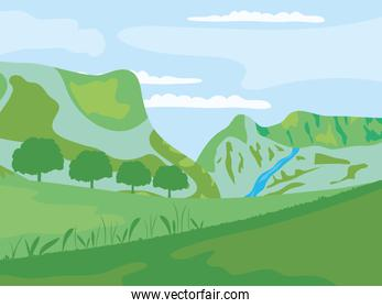 green mountains and trees nature lansdcape, colorful design