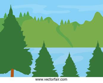 lake, mountains and trees landscape, colorful design