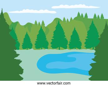 forest with pine trees and lake landscape, colorful design