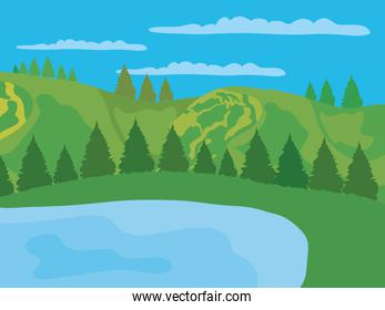 lake and valley mountains pine trees landscape