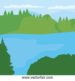lake and forest landscape, colorful design