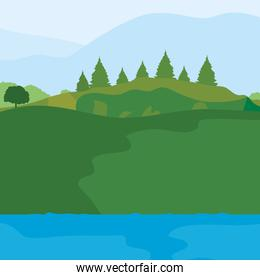 lake and valley mountains with pine trees, colorful design