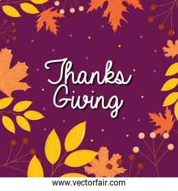 thanksgiving design with decorative dry leaves frame