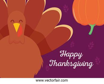 happy thanksgiving colorful design with cartoon turkey and pumpkin