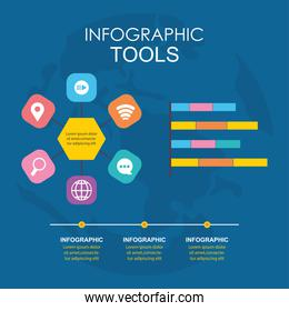 infographic tools with bars and business related icons