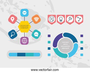 infographic elements design with business and social related icons