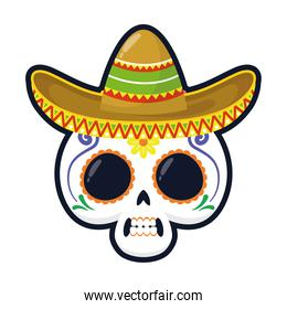 traditional mexican skull head with maricahi hat flat style icon