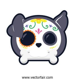 traditional mexican dog skull head flat style icon