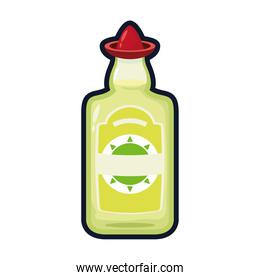 tequila bottle with hat mexican flat style icon