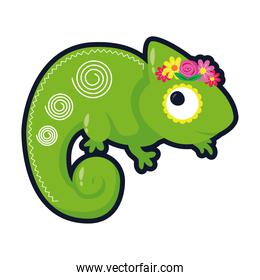 little chameleon with flowers flat style icon