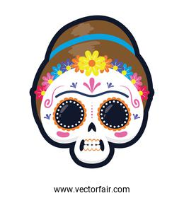 traditional mexican woman skull head flat style icon